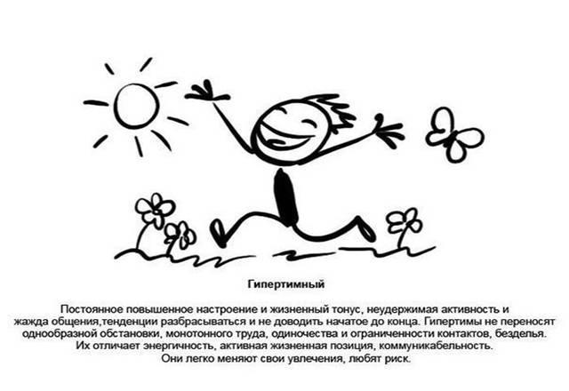 Гипертимность: особенности гипертимного типа личности, акцентуации характера, характеристика и черты стенического темперамента