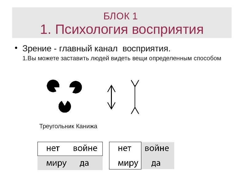 Восприятие в психологии — его виды, свойства, ошибки (иллюзии) и особенности восприятия человека человеком