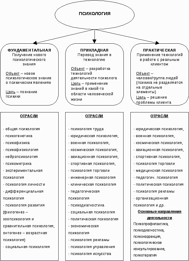 Основные разделы и отрасли психологии