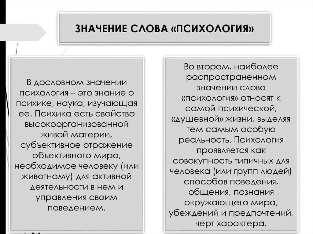 Значение слова «психология»